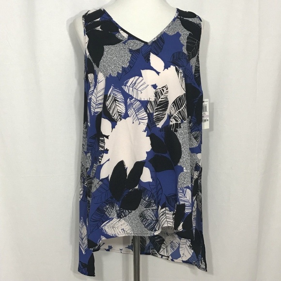 858fdb2471c970 Alfani Women Blouse Sz 12 Blue White Black Floral